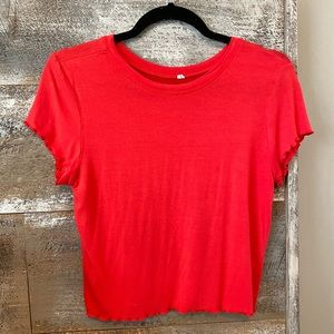red t shirt slightly cropped